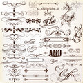 Calligraphic vector vintage design elements and page decorations set of for Stock Photo