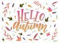 Calligraphy art poster/banner `Hello autumn` on a white background