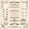 Calligraphy borders corners. Classic vintage ornament victorian old frames vector design elements