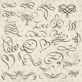 Calligraphy decorative borders, ornamental rules, dividers Royalty Free Stock Photo