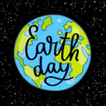 Calligraphy Earth Day. Vector
