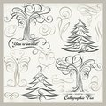 Vector Calligraphy Tree Butterfly Design Elements Clipart Set Royalty Free Stock Photo
