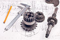 Calliper with part on Engineering drawing Royalty Free Stock Photo