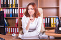 Calm accountant with pen Royalty Free Stock Photo