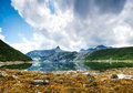 A calm fjord in norway during a lowtide low tide horizontal shot Royalty Free Stock Photography