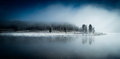 Calm icy lake in a foggy winter morning Royalty Free Stock Photo