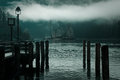 Calm misty lake at down Royalty Free Stock Photo