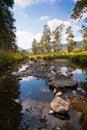 Calm mountain river rocks landscape