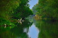 Calm and peacefull nature silent water channel on danube delta Royalty Free Stock Image