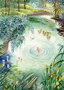 Calm pond scene wood watercolor Stock Images