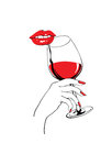 Calm red lips and glass of wine holding hand Royalty Free Stock Photo