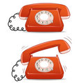 Calm and ringing old-fashioned cartoon phone Royalty Free Stock Photography