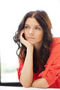 Calm and serious woman bright picture of Stock Image