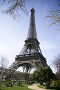 Calm sunny eiffel tower view Royalty Free Stock Photography