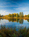 Calm water autumn nature reflection Royalty Free Stock Photo