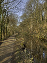 Calm water cromford canal early spring Royalty Free Stock Photo
