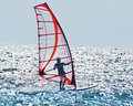 Calm wind surfing after sweden s west coast with the sun and as the driving force on this day Royalty Free Stock Images