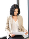 Calm woman with documents bright picture of Stock Photo