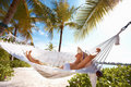 Calm woman in hammock Royalty Free Stock Image