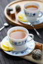 Calming herbal tea organic with homemade sweets Royalty Free Stock Images
