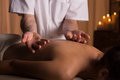 Calming relaxing massage at spa Royalty Free Stock Photo