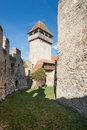 Calnic medieval fortress in transylvania romania church tower and wall unesco heritage site Stock Photo