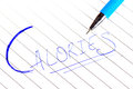 Calories beautiful shot of written on paper with blue pen Royalty Free Stock Image