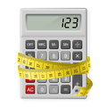 Calories counting white calculator with measuring tape as symbol of Royalty Free Stock Photography