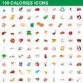100 calories icons set, cartoon style