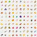100 calories icons set, isometric 3d style