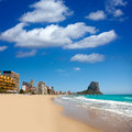 Calpe alicante arenal bol beach with penon de ifach mountain in mediterranean sea of spain Royalty Free Stock Photo