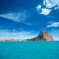 Calpe alicante arenal bol beach with penon de ifach mountain in mediterranean sea of spain Royalty Free Stock Image