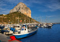 Calpe in alicante with Penon Ifach mountain Royalty Free Stock Photography