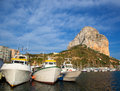 Calpe in alicante with Penon Ifach mountain Stock Photography