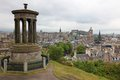 Calton Hill against Edinburgh Stock Image