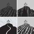 Calvary mountain set with three crosses Royalty Free Stock Image