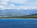 Calvi bay view of with the mountains in background Stock Photo