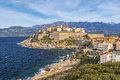 Calvi Citadel seen from Revellata Peninsula in Corsica Royalty Free Stock Photo