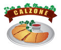 Calzone with parsley and Sauce Stock Photography