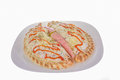 Calzone pizza two pieces of on the white plate Royalty Free Stock Image
