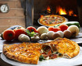 Calzone pizza with vegetables roasted in the wood oven Stock Image