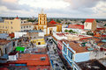 Camaguey UNESCO World Heritage Centre from above. View of the pedestrian street Maceo towards Soledad church.  from above. Royalty Free Stock Photo