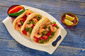 Camaron shrimp tacos mexican food on blue Royalty Free Stock Photo