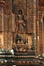 Cambodia Angkor Banteay Srey carved apsara Royalty Free Stock Photo