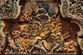 Cambodia Angkor Banteay Srey carved pediment Royalty Free Stock Image