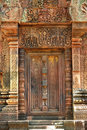 Cambodia Angkor Banteay Srey false carved door Stock Images
