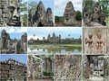 Cambodia angkor highlights collage with tourist Royalty Free Stock Photography