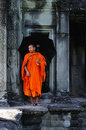 Cambodia Angkor wat gallery with a monk Stock Photos