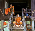 Cambodia home monks Arkivfoton
