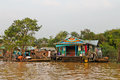 Cambodia, Siem Reap, January 21nd, 2014, floating village, people living on the water